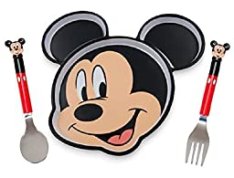 Disney Mickey Mouse 3 piece Dining Set Plate, Fork and Spoon