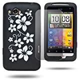 Black HTC Salsa Soft White Flower Silicone Rubber Gel Skins Mobile Phone Mobile Phone Case Cover With Free Ultra Clear LCD Screen Film Protector