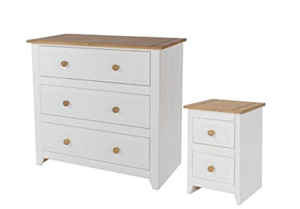3 Drawer Chest & 2 Drawer Bedside Bedroom Furniture White & Solid Pine Tops