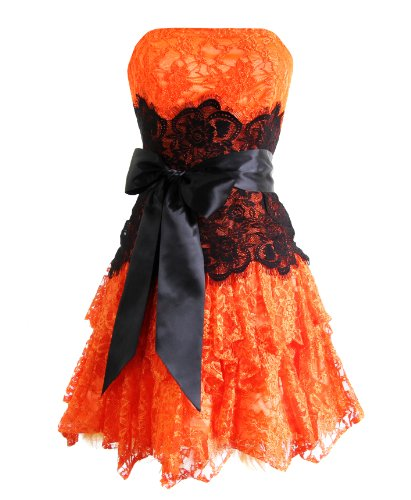 Strapless Bustier Contrast Lace and Crinoline Ruffle Prom Mini Dress Junior Plus Size, Large, Orange/Black