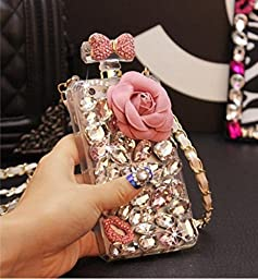 Iphone 6 plus/6s plus Perfume Bottle Case,Jesiya Handmade Luxury Elegant Bling 3D Flower Bow Lip Diamond Crystal Fitted Case for Iphone 6 plus/6s plus 5.5\