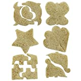 SySrion® Sandwich Crust Cutters Cake Bread Biscuit Food Cutter Mold, Set of 6 Fun Shapes - Dinosaur, Dolphin, Heart, Puzzle, Star and Butterfly Bytes, Blue and Pink