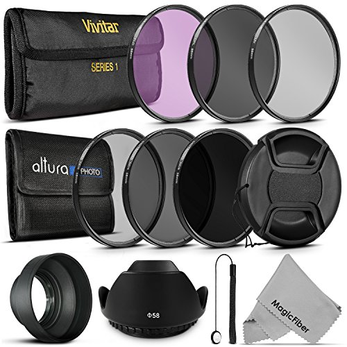 58MM Vivitar UV CPL FLD Filters, Altura Photo ND Filter Set, Collapsible Rubber Lens Hood, Tulip Lens Hood Bundle for Lenses with a 58mm Filter Size (Tulip Hood And Battery compare prices)