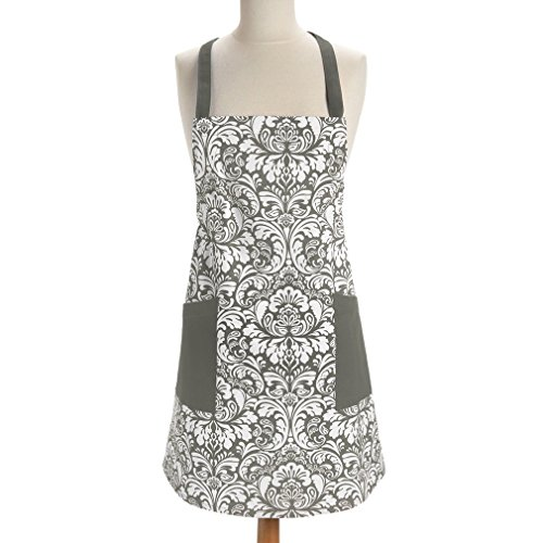 Fashion Printed Damask Chef Kitchen Apron Adjustable Neck Strap & Waist Ties Machine Washable Front Pockets Perfect for Cooking Baking Barbequing (Gray) (Baking Cooking Charms compare prices)