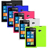 Importer520 5in1 Combo Silicone Rubber Gel Soft Skin Case Cover for Nokia Lumia 900 Black, Blue, Pink, White, Neon Green