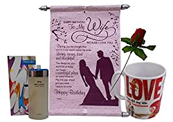Valentine Gift For Wife - Perfume, Scroll Card, Mug & Artificial Red Rose