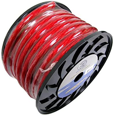 BULLZ AUDIO 1/0 Gauge 50 FT Power Wire Ground Cable Red