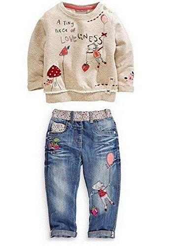 Baby World Baby Girl Long Sleeve Floral Top+Jean Pants Outfit Set (2-3T, Blue)