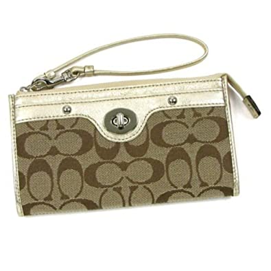 Coach Penelope Signature Zippy Wristlet Wallet Bag (Khaki / Gold)