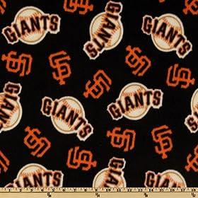 60 inch Wide MLB Fleece San Francisco Giants Toss Black Fabric By The Yard