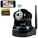 IP Camera, Uokoo 1080p WiFi Security Camera Built-in Microphone, Pan/Tilt with 2-Way Audio, Night Vision, Baby Video Monitor Nanny Cam, Motion Detection Wireless IP Webcam (Black-1080P)