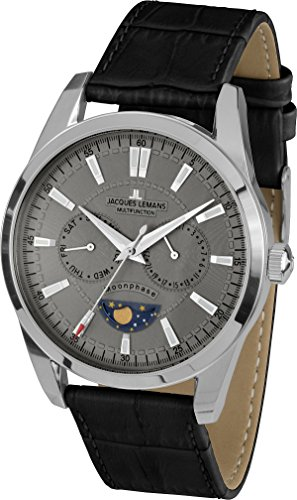 Jacques Lemans Men's Watch XL Analogue Quartz Liverpool Moonphase 1-1804I Leather