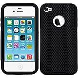 kwmobile® HYBRID SILIKON / HARDCASE Schutzhülle Cover Bumper Mesh Design für Apple iPhone 4 / 4S in SCHWARZ