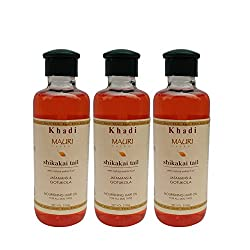 Khadi Mauri Shikakai Oil Herbal Ayurvedic Anti Hairfall Oil Pack of 3 - 210 ml each