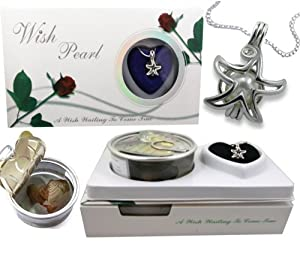 Great Gift 18k Gp Star Fish Genuine Wish Pearl in Oyster Pendant Necklace Roses Box