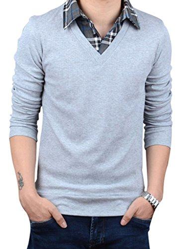 Uomo Gillbro falso in due pezzi camicia collare pullover Maglione, grigio, 5XL