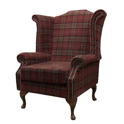 Armchair in a red tartan fabric