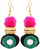 Badhs design studio Green, Pink and Black Resin Handmade Dangle and Drop Earrings for Women (BFS-5)