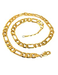Ammvi Creations 17.5'' Figaro Links Gold Plated Chain Necklace For Men