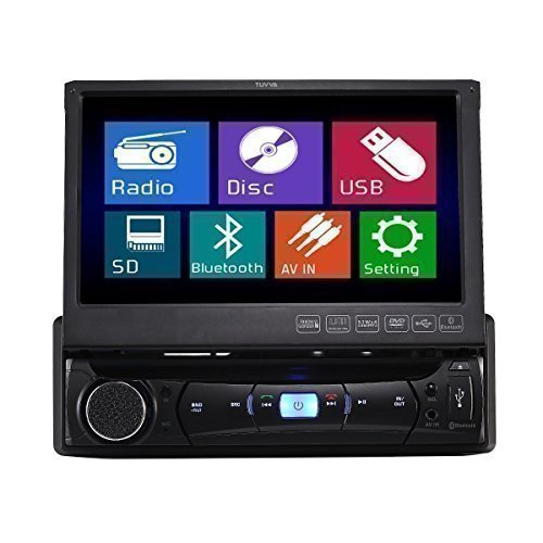 TUVVA-KSD7843B-Autoradio-In-Dash-1-DIN-18-cm-Motorisierter-Touch-Bildschirm-DVD-CD-USB-AUX-MP4-MP3-Player-Receiver-RDS-Radio-Bluetooth-Audio-Streaming-Freisprech-Anrufe-mit-Fernbedienung