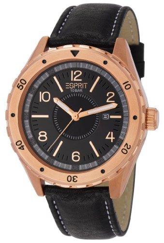 esprit-es105541003-alamo-rosegold-montre-homme-quartz-analogique-cadran-noir-bracelet-cuir-noir