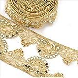 BridalMary Hand Beaded Dress Bridal DIY Wedding Sash Applique 1 YD Golden Craft La. (Color: Gold, Tamaño: free size)