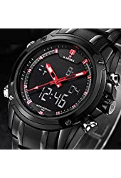 Readeel Military Sports Watches Men's Dual-display Multi-function Stainless Steel Mens Watches Red