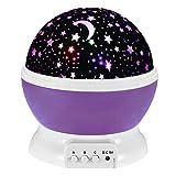 Skitic Romantische Sternenklar LED Nacht-Beleuchtung Rotating Himmel Mond Lampe Projektor für Kinder, Baby Schlafzimmer Entspannende Stimung und Weihnachts-Geschenk (Lila)