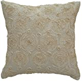 Avarada Solid Floral Bouquet Throw Pillow Cover Decorative Sofa Couch Cushion Cover Zippered 16x16 Inch (40x40 cm) Cream