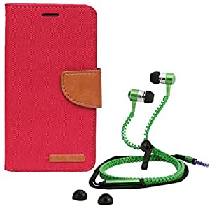 Aart Fancy Wallet Dairy Jeans Flip Case Cover for SamsungSamsung7106 (Red) + Zipper Earphones/Hands free With Mic *Stylish Design* for all Mobiles- computers & laptops By Aart Store.