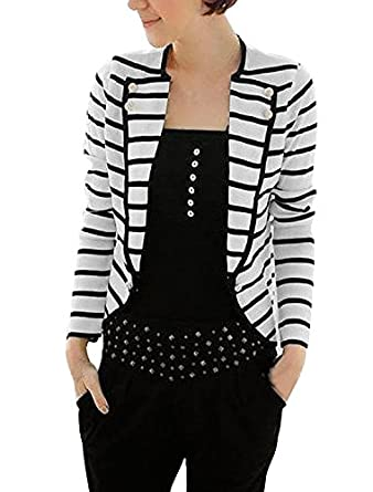 Allegra K Women Notched Lapel Horizontal Striped Casual Light Blazer Jacket