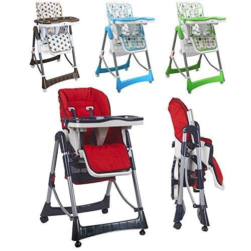 Monsieur Bébé ® Chaise haute enfant pliable, réglable hauteur, dossier et tablette...