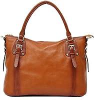 Heshe Soft Genuine Leather Lady New Fahion Vintage Top Handle Tote Crossbody Shoulder Bag Satchel Zippered Closure Purse Handbag for Women