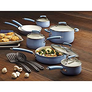 Paula Deen Savannah Collection Aluminum 17-piece Blueberry Cookware Set with Bakeware, Oven-safe to: 350 - 500 degrees Fahrenheit