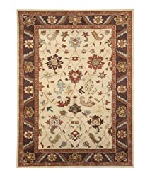 Area Rug, Ivory/Brown Traditional Bordered Soft Wool Carpet, 6-Foot 7-Inch X 9-Foot 6-Inch