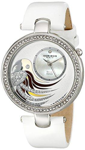 Akribos XXIV Women's Lady Diamond Parrot Dial Swiss Quartz Leather Strap Watch