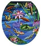 Toilet Tattoos TT-7740-R Koi Fish Decorative Applique for Toilet Lid, Round