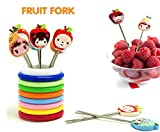 Ylloolly Color Rings Designer Fruit Fork Stand With 8 Cartoon Shape Fruit Forks