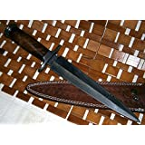 RAM-05 Damascus Steel Dagger Knife – Walnut Wood Handle (Color: walnut)