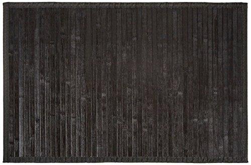 Carpemodo Bambusmatte Badvorleger Badeteppich Bambusteppich / Farbe: Schwarz / Größe: 50x80 cm / Unterseite rutschhemmend / mit Textilband eingefasst