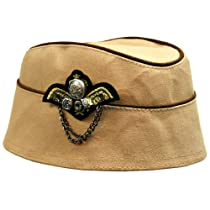 Tan Military Style Fascinator Cap With Wing Broach & Chains
