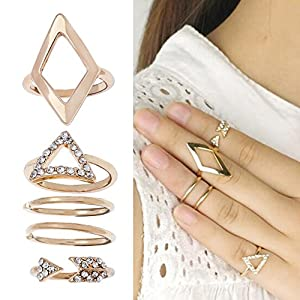 Set of 5 Amazing Golden Colored Rings In 5 Different Designs, Some Studded With Rhinestones / Crystals By VAGA