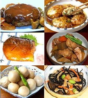試しセット柔らかジューシーハンバーグ(1)バランス豆腐ハンバーグ(1)里芋煮(1)鯖の生姜煮(1)筑前煮(1)ひじきの五彩煮(1)