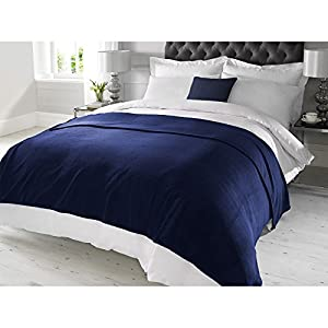 LUXURY FAUX CASHMERE THROW Navy Super Soft Sofa Bed Blanket Flee