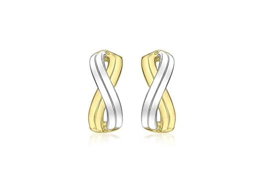 9ct Two Colour Gold Double Crossover Earrings