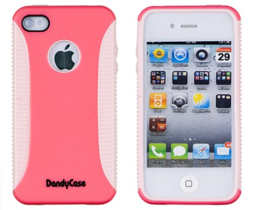 Body Armor Case For Apple Iphone 4, 4S (At&T, Verizon, Sprint) - Cabaret Pink / Sweet Lilac - Includes 24/7 Cases Microfiber Cleaning Cloth [Retail Packaging By Dandycase] front-510299