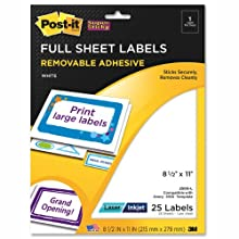 Post-it Super Sticky Removable Full Sheet Labels, 8.5 x 11 Inches, White, 25 per Pack (2500-L)