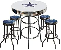 Hot Sale Dallas Cowboys Logo Glass Top Chrome Metal White Bar Pub Table Set with 4 Swivel Bar Stools
