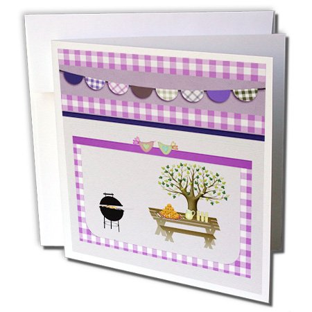 Gc_182717_2 Beverly Turner Picnic Design - Barbeque Pit, Picnic Table With Platter And Lemon Aid, Purple Gingham - Greeting Cards-12 Greeting Cards With Envelopes