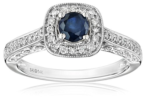 14k White Gold Sapphire and Diamond (1/4cttw, H-I Color, I2-I3 Clarity) Engagement Ring, Size 7 (Filigree Engagement Ring compare prices)